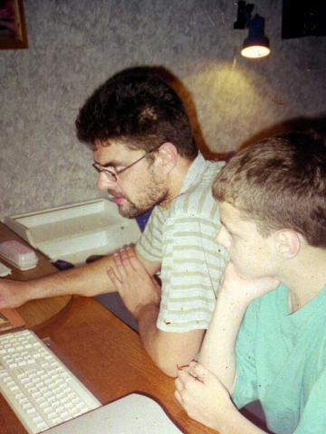с сыном за компьютером